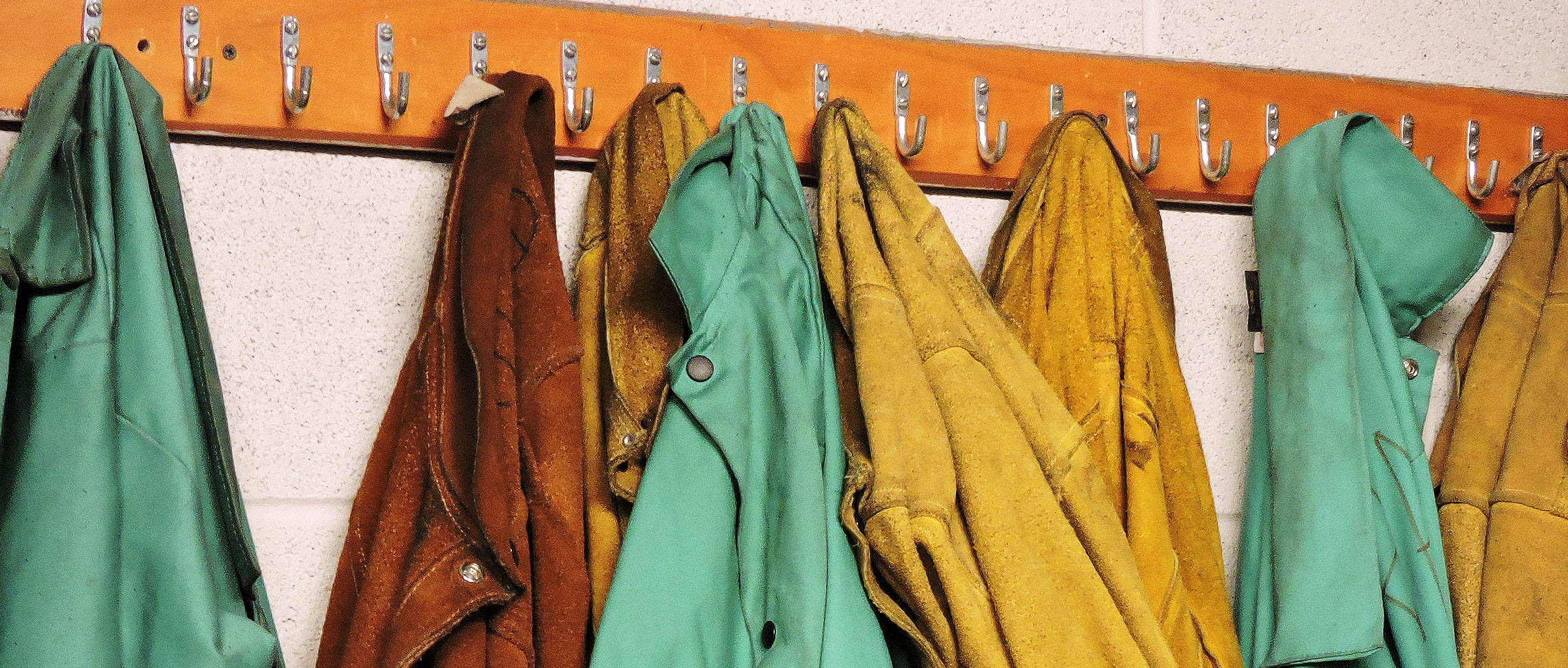 Jackets hanging on a coat rack
