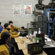 Apex students receiving technical education in welding class