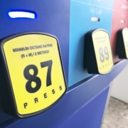 Gasoline pumps for three octane fuel types at a gas station