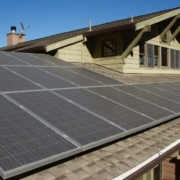 Solar panels on a house roof are a green building trend