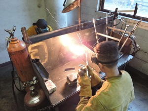 Apex students learn hands-on arc welding in the shop